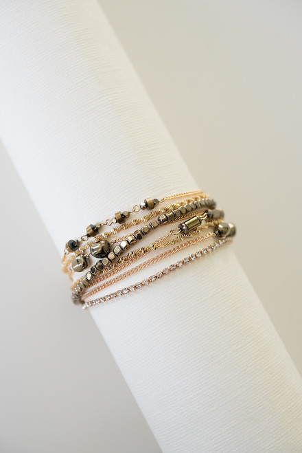 7.25 inch layered gold chain wrap bracelet