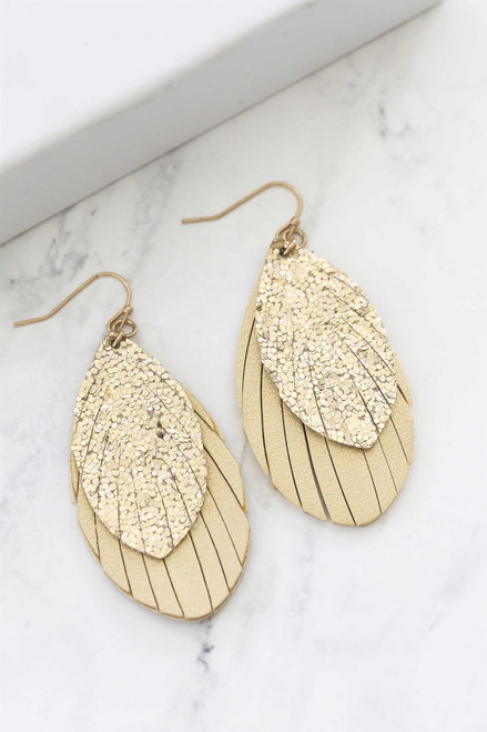 1.75 inch 2-layered gold vegan leather feather earrings