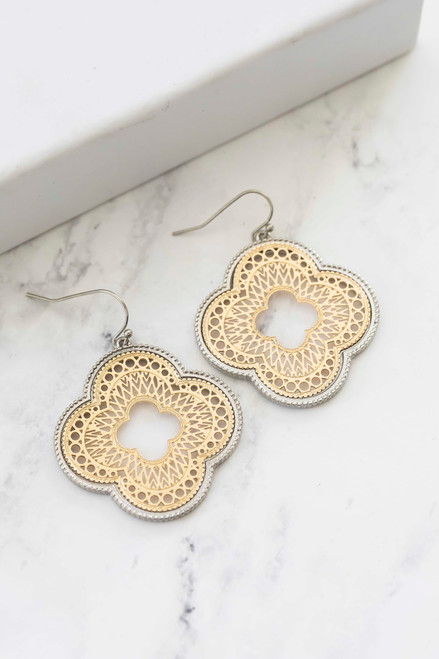 1.25 inch gold mixed metal moroccan earrings