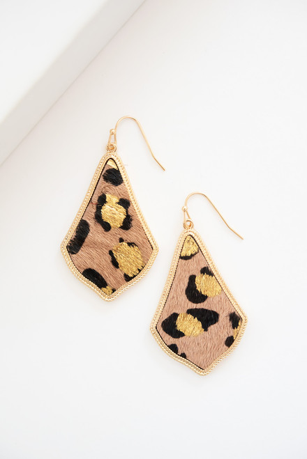 Fawn colored leopard Moroccan drop earrings with metallic gold spot details