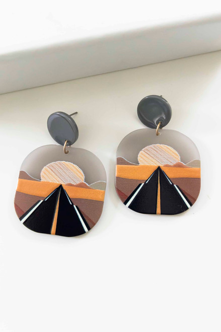 1.75 inch square clay earrings with road and desert backdrop scene