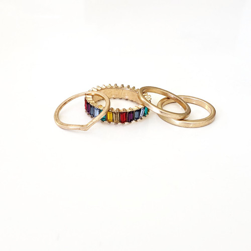 Chloe Ring Set - Rainbow/Gold