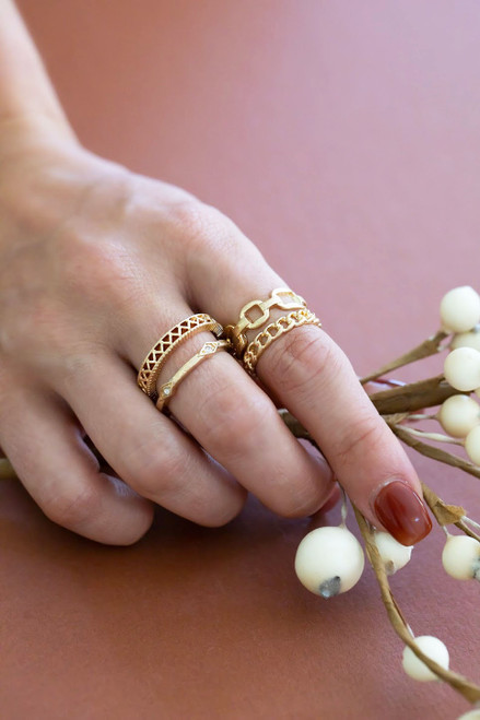 Chain Ring Set - Gold