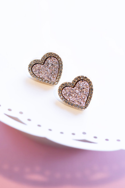 Heart Quartz Stud Earrings - 3 Colors