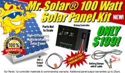 Mr. Solar® DIYPower 100 Watt Solar Panel Kit with USB Power & Charging Port