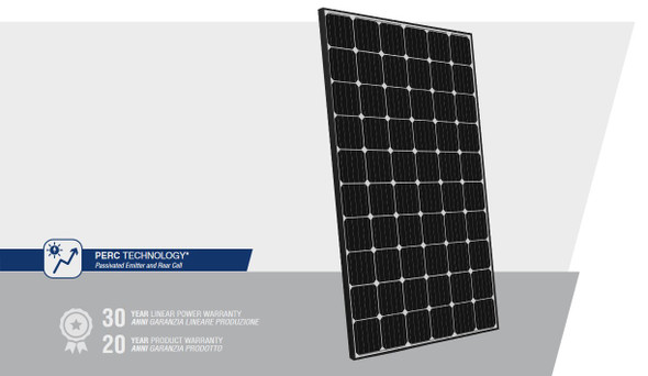 Peimar High Efficiency 300W Mono Solar Panel w/ Black Frame featuring PERC technology for higher-efficiency performance.