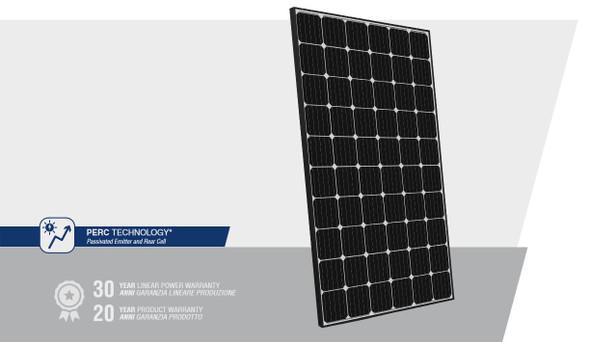 Peimar High Efficiency 300W Mono Solar Panel w/ Black Frame featuring PERC technology for higher-efficiency performance.