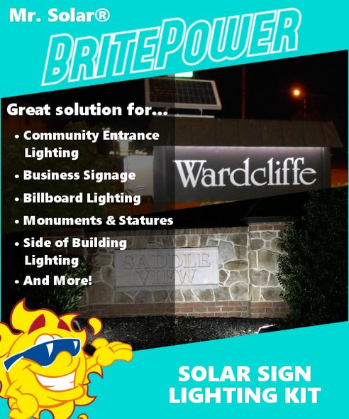Mr. Solar® BritePower 90 Watt Solar Sign Lighting Kit w/1 Light