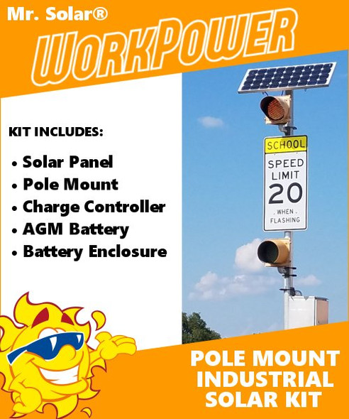 Mr. Solar® WorkPower 30 Watt Pole-Mount Solar Power Kit