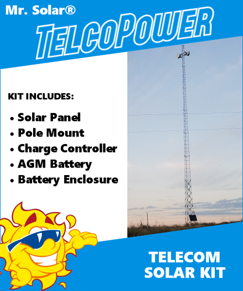 Mr. Solar® TelcoPower 50 Watt Telecom Solar Power System Kit