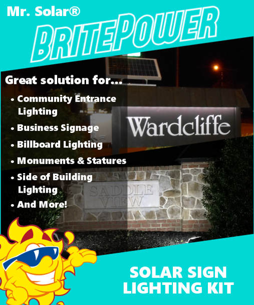 Mr. Solar® BritePower 10 Watt Solar Sign Lighting Kit w/1 Light