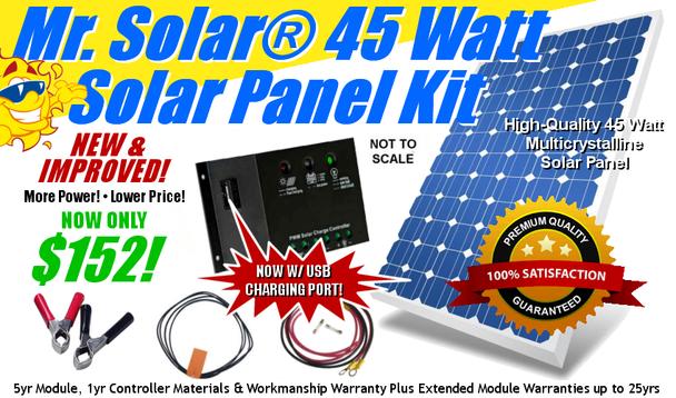 Mr. Solar® DIYPower 45 Watt Solar Panel Kit w/ USB Power/Charging Port