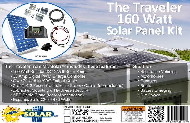 The Traveler 160 Watt Solar Panel Expansion Kit from Mr. Solar® features a 160W Solarland 12V Solar Panel, Z-bracket mounting and hardware (set of 4), a 30A Digital PWM charge controller, an ABS Cable Gland and over 20' of #10 AWG output cable. The kit is easily expanded to 320/480W by purchasing our 160W expansion kit(s).
