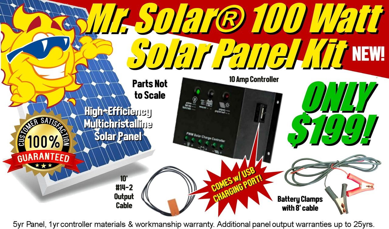 Mr Solar Olsk 100hf 100w Kit With Usb Power Charging Port Electrical Panels Gt Dc Current Panel 4 Circuit Breakers 100 Watt
