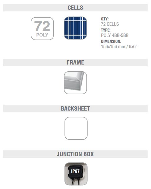 Peimar Commercial 330 watt poly solar panel with durable construction.