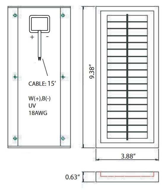 BSP1-12 1 Watt, 12 Volt Solar Panel Module Diagram
