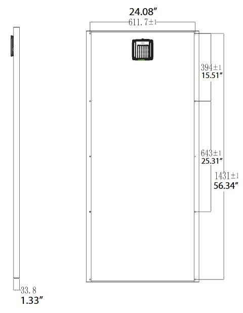 BSP120-12 120 Watt, 12 Volt Solar Panel Module Diagram - Side/Back