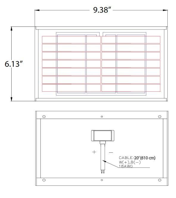 BSP2-7 2 Watt, 7 Volt Solar Panel Module Diagram