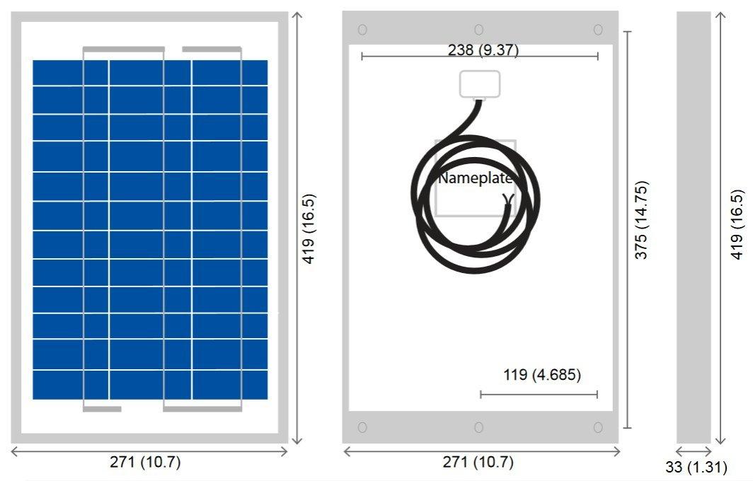 BSP10-12 10 Watt, 12 Volt Solar Panel Module Diagram