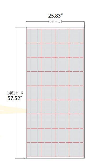 BSP120-12 120 Watt, 12 Volt Solar Panel Module Diagram
