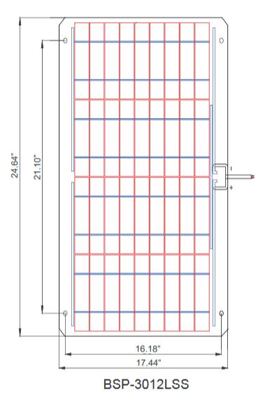 BSP30-12-LSS 30 Watt, 12 Volt Solar Panel Module Diagram