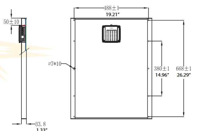 BSP40-12 40 Watt, 12 Volt Solar Panel Module Diagram - Side/Back