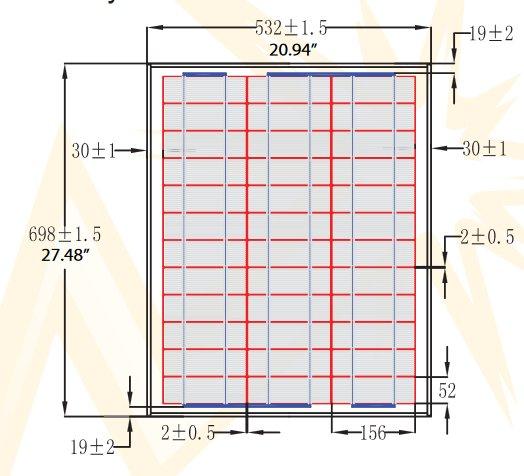 BSP40-12 40 Watt, 12 Volt Solar Panel Module Diagram