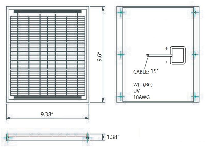 BSP5-12 5 Watt, 12 Volt Solar Panel Module Diagram
