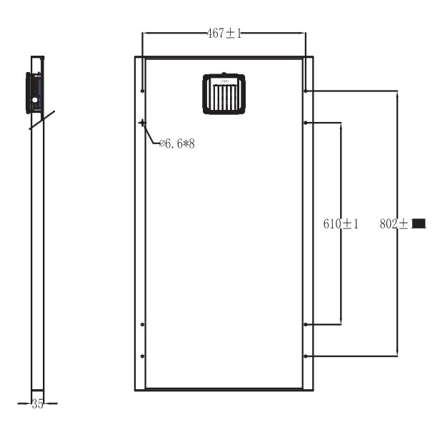 BSP65-12 65 Watt, 12 Volt Solar Panel Module Diagram - Side/Back