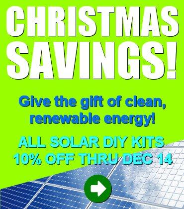 Christmas solar savings! All DIY Solar Kits 10% Off through Dec 14