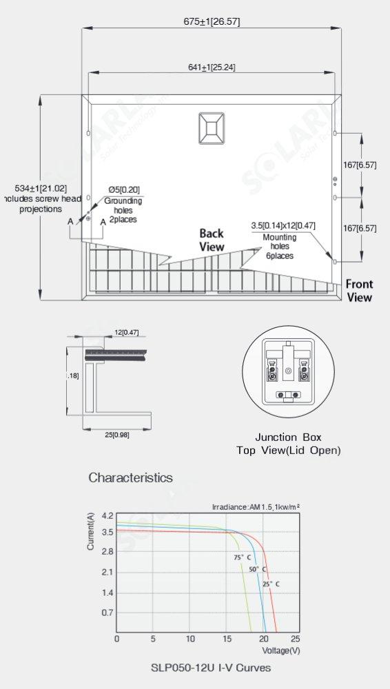 Solarland® SLP050-12U 50 Watt 12V Standard-Use Solar Panel Quick Specs Diagram