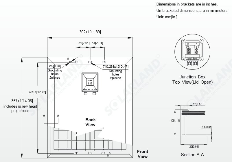 Solarland® SLP01-12C 12 Watt, 12V Solar Panel Module Diagram