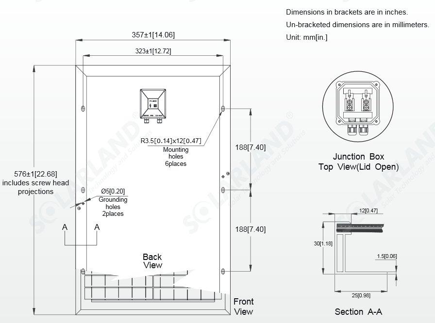 Solarland® SLP025-12C 25 Watt, 12V Solar Panel Module Diagram