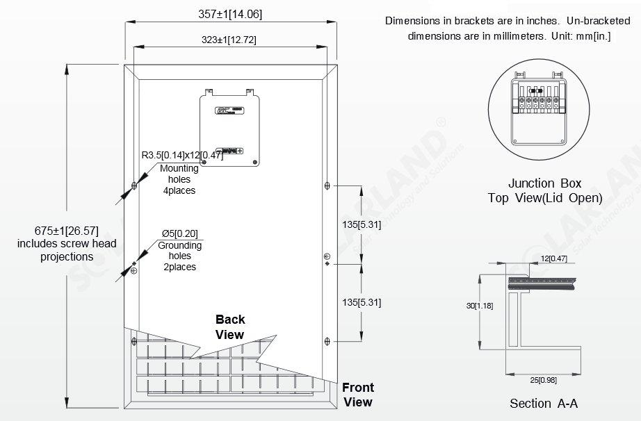 Solarland® SLP030-12C1D2 30 Watt, 12V Solar Panel Module Diagram