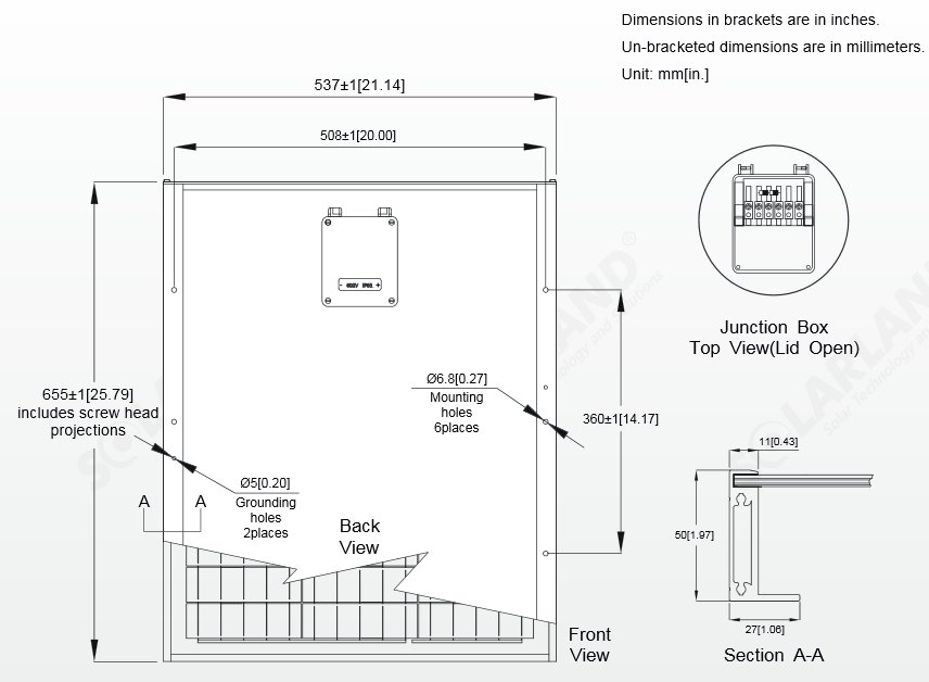 Solarland® SLP045-12C1D2 45 Watt, 12V Solar Panel Module Diagram