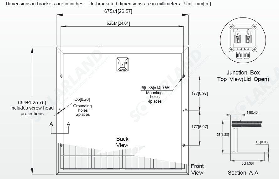 Solarland® SLP060-12C 60 Watt, 12V Solar Panel Module Diagram