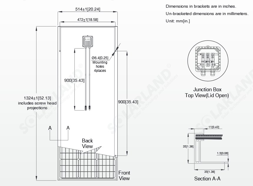 Solarland® SLP100S-12 100 Watt, 12V Mono Solar Panel Module Diagram