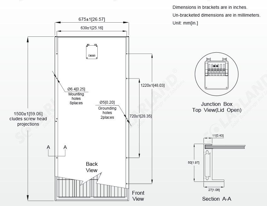 Solarland® SLP150-12C1D2 150 Watt, 12V C1D2 Solar Panel w/ 50mm Large Frame Diagram