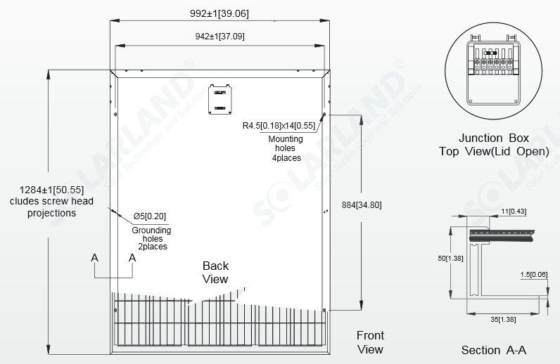 Solarland® 190 Watt, 24V C1D2 Solar Panel w/ 50mm Large Frame Diagram