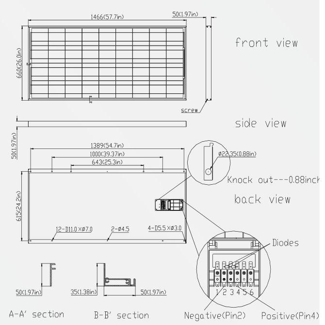 Solartech SPM135P-S-F 135W 12V Solar Panel Module Diagram
