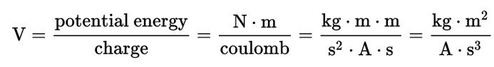 Formula SI expression for volt.