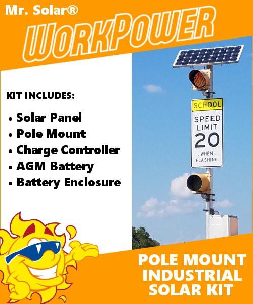 Mr  Solar® WorkPower 90 Watt Industrial Pole-Mount Solar Power System Kit