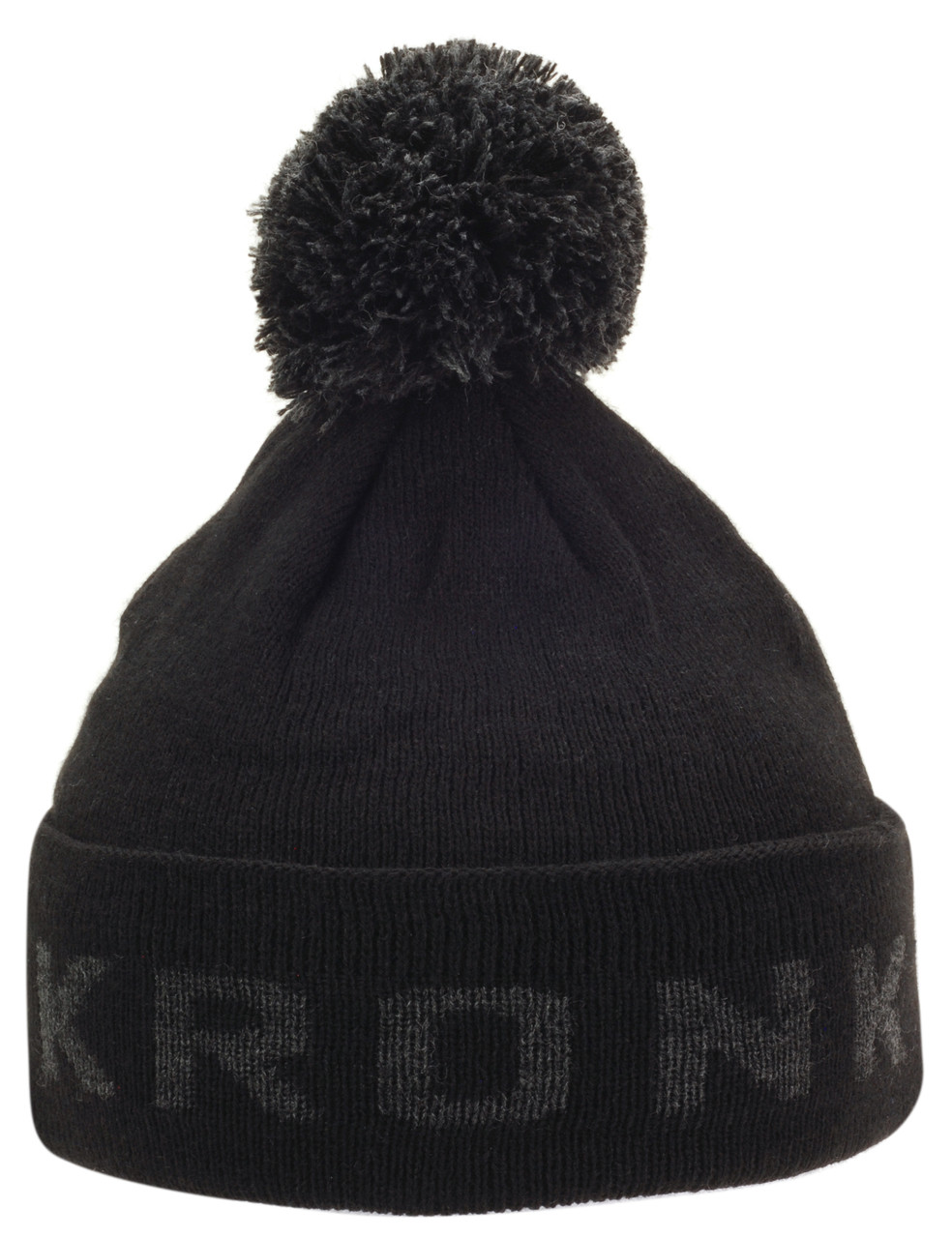 c802e44012f KRONK Detroit Bobble Hat Black with Charcoal knitted logo