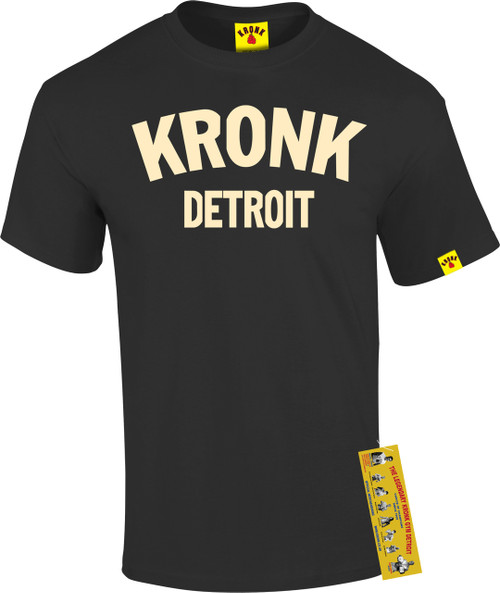 KRONK Detroit T Shirt Black with Cream print