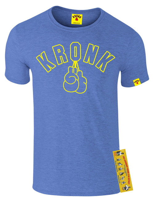 KRONK Gloves Outline Slimfit T Shirt Heather Royal Blue