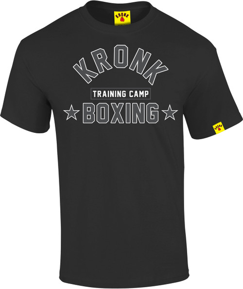KRONK Boxing Training Camp T Shirt Black with White & Charcoal Print