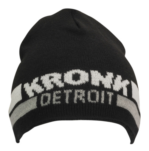 KRONK Detroit Two Stripe Beanie Hat Black