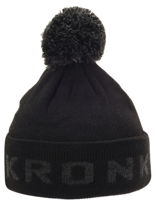 KRONK Detroit Bobble Hat Black with Charcoal knitted logo