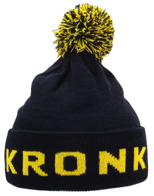 KRONK Detroit Bobble Hat Navy with Yellow knitted logo