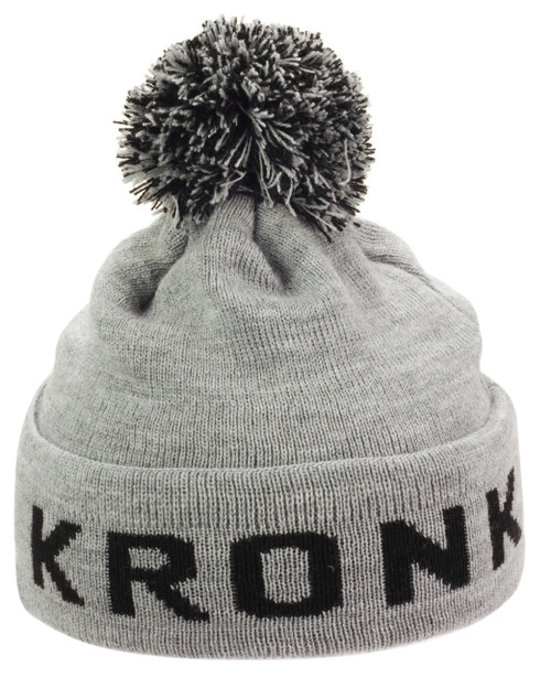 KRONK Detroit Bobble Hat Grey with Black knitted logo